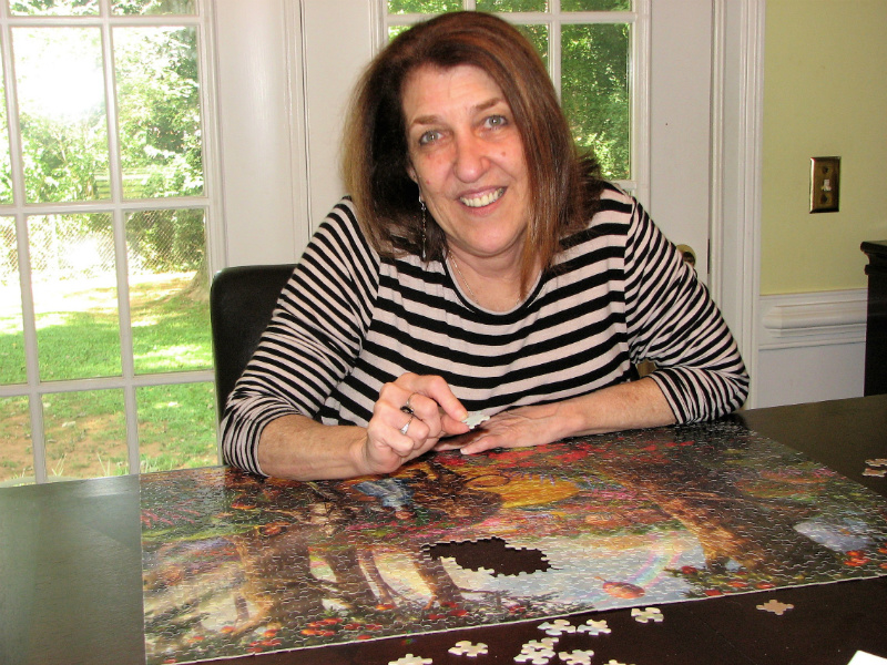 Debbie Gold with a puzzle